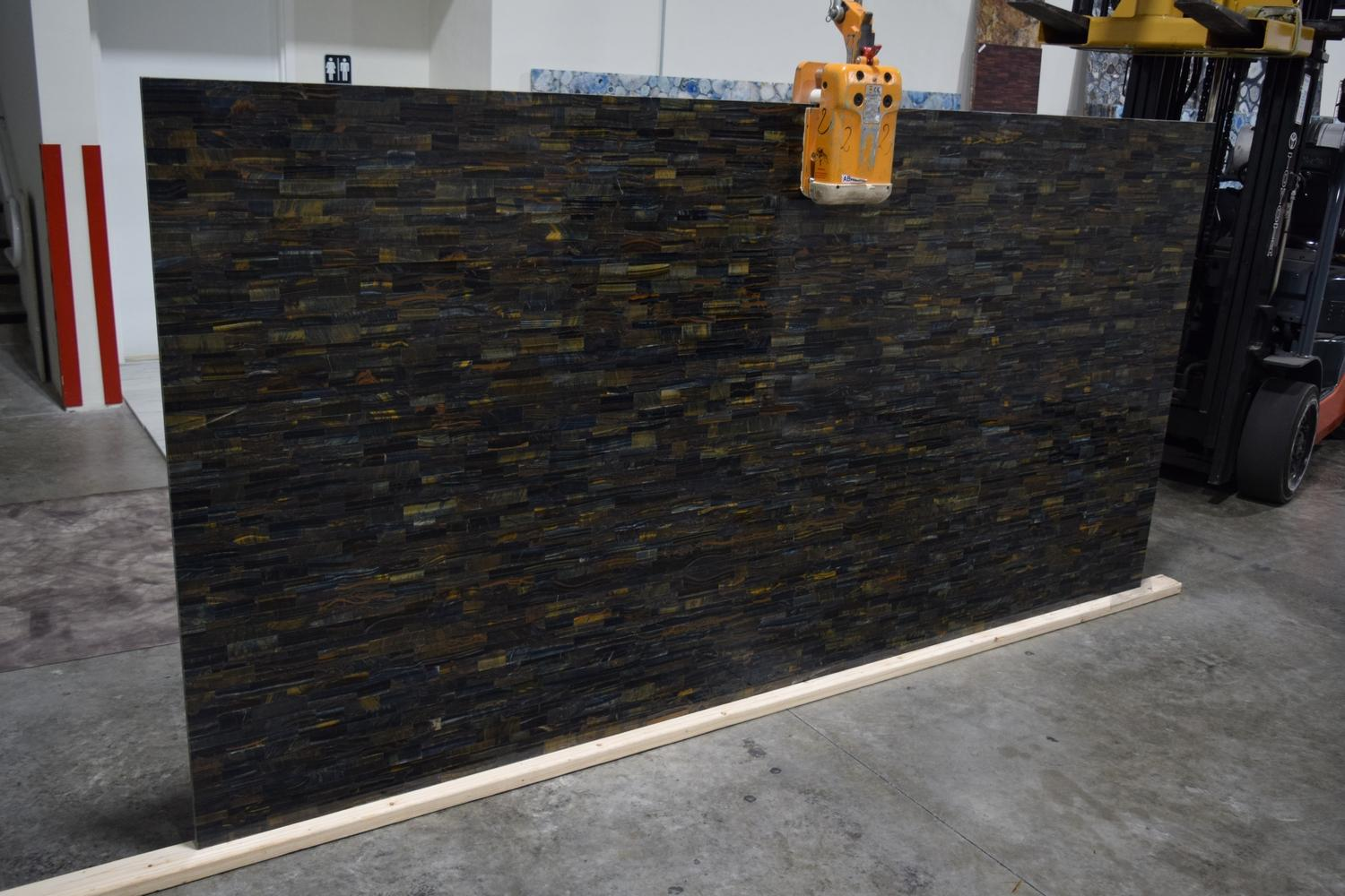 Multi Tiger Eye Blue Brick Pattern